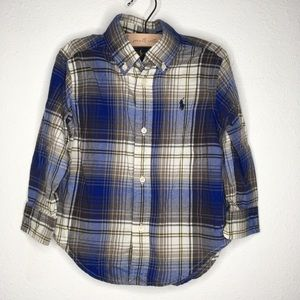 Ralph Lauren Blue Plaid Button Down Shirt Size 2T